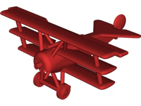Fokker Dr.1 Triplane Fighter in White Natural Versatile Plastic: Small