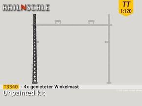4x genieteter Winkelmast (Epoche I - TT 1:120) in Smooth Fine Detail Plastic
