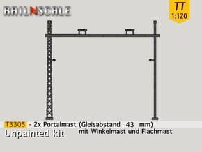 2x Portalmast (Oberleitung Epoche I - TT 1:120) in Smooth Fine Detail Plastic