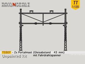 2x Portalmast mit Spanner (Oberleitung TT 1:120) in Smooth Fine Detail Plastic