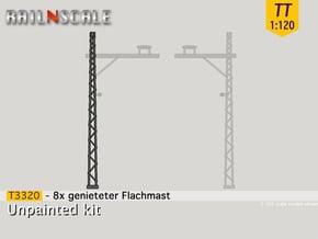 8x genieteter Flachmast (Epoche I - TT 1:120) in Smooth Fine Detail Plastic