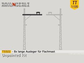 8x lange Ausleger für Flachmast (TT 1:120) in Smooth Fine Detail Plastic