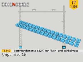 32x Betonfundamente (Oberleitung TT 1:120) in White Natural Versatile Plastic