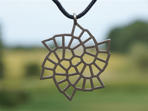 Snowflake Pendant in Polished Bronzed Silver Steel