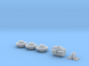 HO/1:87 Crane base x6 + plate holders in Smooth Fine Detail Plastic