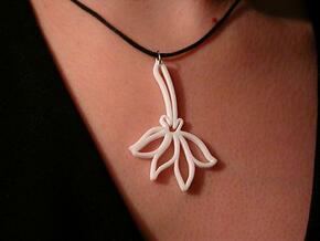 Pressed Flower Pendant in White Processed Versatile Plastic