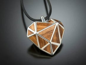 GEO LOVE pendant   in Polished Silver