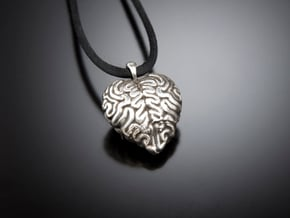 Think With Your Heart Pendant (Hollowed) in Fine Detail Polished Silver