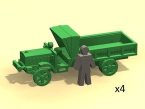 6mm WW1 light trucks (4) in Smoothest Fine Detail Plastic