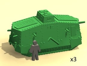 6mm WW1 A7V tank in Smoothest Fine Detail Plastic