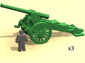 6mm scale De Bange cannon 155mm 1877 (3) in Smoothest Fine Detail Plastic
