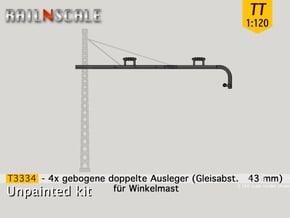 4x gebogene doppelte Ausleger für Winkelmast (TT) in Smooth Fine Detail Plastic