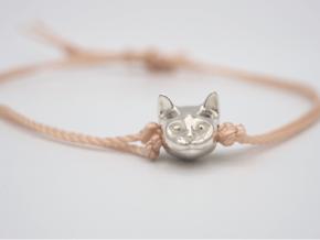 Cat Lover Friendship Bracelet Charm - Smiley Cat in Polished Silver