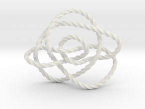 Ochiai unknot (Twisted square) in White Natural Versatile Plastic: Extra Small