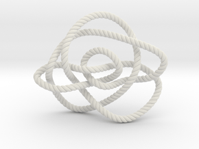 Ochiai unknot (Rope with detail) in White Natural Versatile Plastic: Extra Small