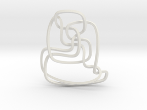 Thistlethwaite unknot (Square) in White Natural Versatile Plastic: Extra Small