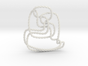 Thistlethwaite unknot (Twisted square) in White Natural Versatile Plastic: Extra Small