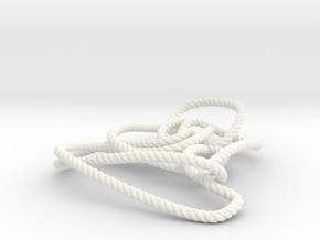 Thistlethwaite unknot (Rope with detail) in White Processed Versatile Plastic: Medium