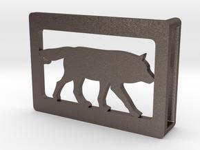 Belt Buckle - Wolf - M1FE in Polished Bronzed Silver Steel