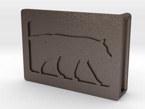 Belt Buckle - Wolf - M1FF in Polished Bronzed Silver Steel