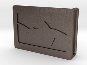 Belt Buckle - Shark - M1FF in Polished Bronzed Silver Steel