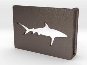 Belt Buckle - Shark - M1SE in Polished Bronzed Silver Steel