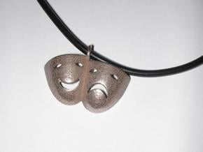 Tragedy and Comedy Necklace in Polished Bronzed Silver Steel