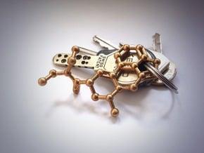LSD Molecule Keychain / Pendant in Natural Brass