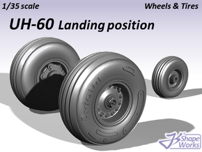 1/35 UH-60 Wheels & Tires Landing position in Smooth Fine Detail Plastic