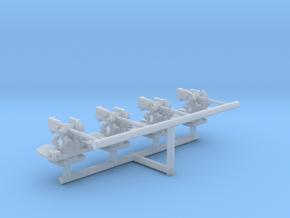 1/600 USN 5 inch 25 Cal. (12.7 cm) Gun Set x4 in Smooth Fine Detail Plastic