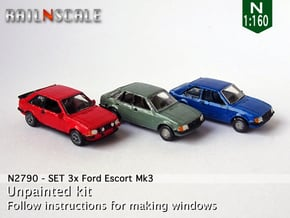 SET 3x Ford Escort Mk3 (N 1:160) in Smooth Fine Detail Plastic