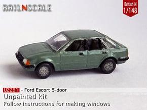 Ford Escort 5-door (British N 1:148) in Smooth Fine Detail Plastic