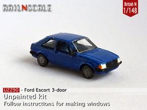 Ford Escort 3-door (British N 1:148) in Smooth Fine Detail Plastic
