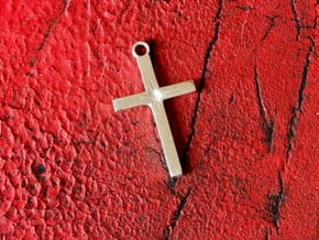 Cross With Starburst  in Polished Silver