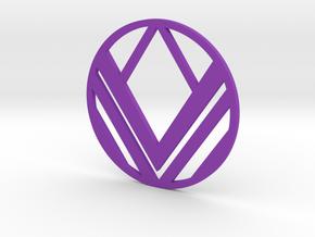 Greek War Shield Pendant in Purple Processed Versatile Plastic