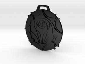 Laurent Crest Keychain/Pendant in Matte Black Steel
