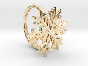 Snowflake Ring 1 d=16mm h21d16 in 14k Gold Plated Brass