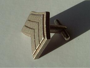 Sergeant Chevron Cufflinks in Polished Bronzed Silver Steel