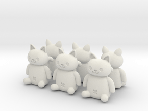 Cat Valve Cap [4+2 pieces set for CAR] in White Natural Versatile Plastic