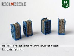 4 Rollcontainer mit Mineralwasser-Kästen (N 1:160) in Smoothest Fine Detail Plastic