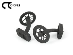Concept R Bike Racing Wheel Cufflinks in Matte Black Steel
