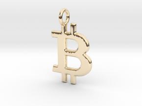 Bitcoin Pendant in 14K Yellow Gold