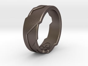 GD Ring (Choose Size Below) in Polished Bronzed Silver Steel