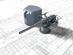 """1/96 SMS Emden 10.5cm 40(4.1"""") SK L/40 with Shield in Smooth Fine Detail Plastic"""