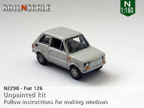 Fiat 126 (N 1:160) in Smooth Fine Detail Plastic
