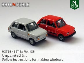 SET 2x Fiat 126 (N 1:160) in Smooth Fine Detail Plastic
