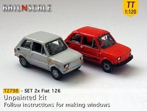 SET 2x Fiat 126 (TT 1:120) in Smooth Fine Detail Plastic