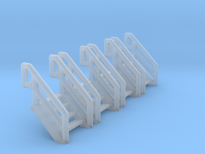 Z Scale Industrial Stairs 4 (4pc) in Smooth Fine Detail Plastic