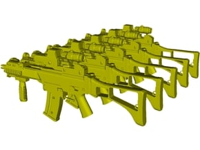 1/48 scale Heckler & Koch G-36C rifles x 5 in Smoothest Fine Detail Plastic