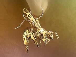 Western Honey Bee Earrings in 18k Gold Plated Brass